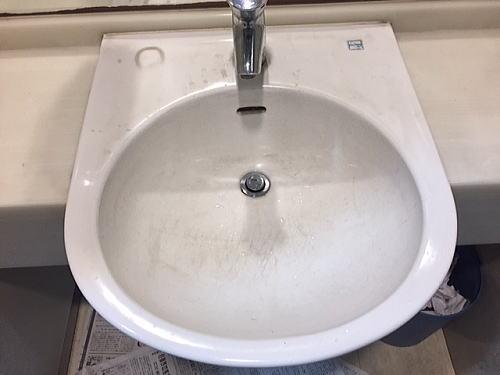 陶器洗面ボールクリーニング施工前