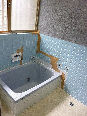 浴室リフォーム壁タイル熊本市北区N様邸施工前2