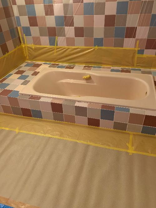 ホテル浴槽塗装リフォーム大分県別府市施工中1