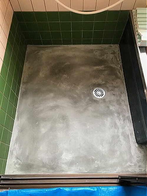 戸建従来浴室床タイルリフォーム長崎市施工中