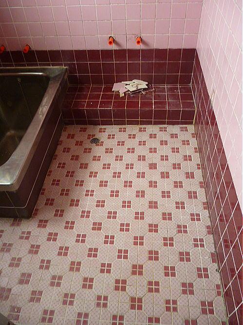 浴室タイル床壁リフォーム飯塚市施工前2